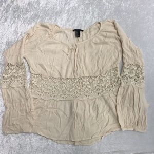 Forever 21 Ladies Cream Boho Long sleeve Blouse